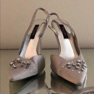 Nina sling back stiletto silver shoe
